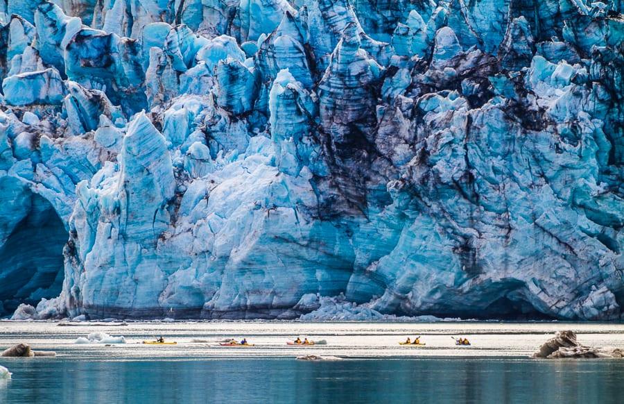 Kayakers In Front Of Lamplugh Glacier, Glacier Bay National Park