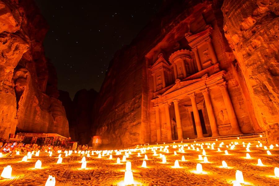 The Treasury At Petra By Candle Light, Petra, Jordan