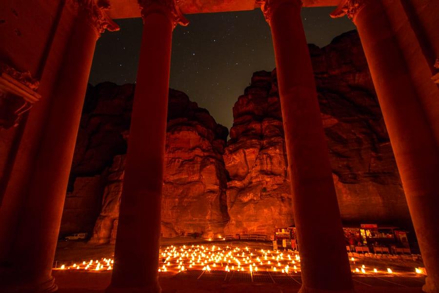 The Treasury At Petra At Night, Jordan