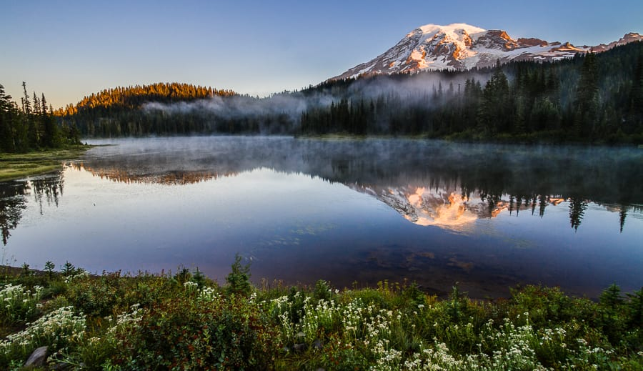 Mount Rainier And Reflection Lakes At Sunrise, Mt. Rainier Natio