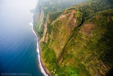 Waterfalls Carving Hawaiian Cliffs, Hawai'i, The Big Island, USA