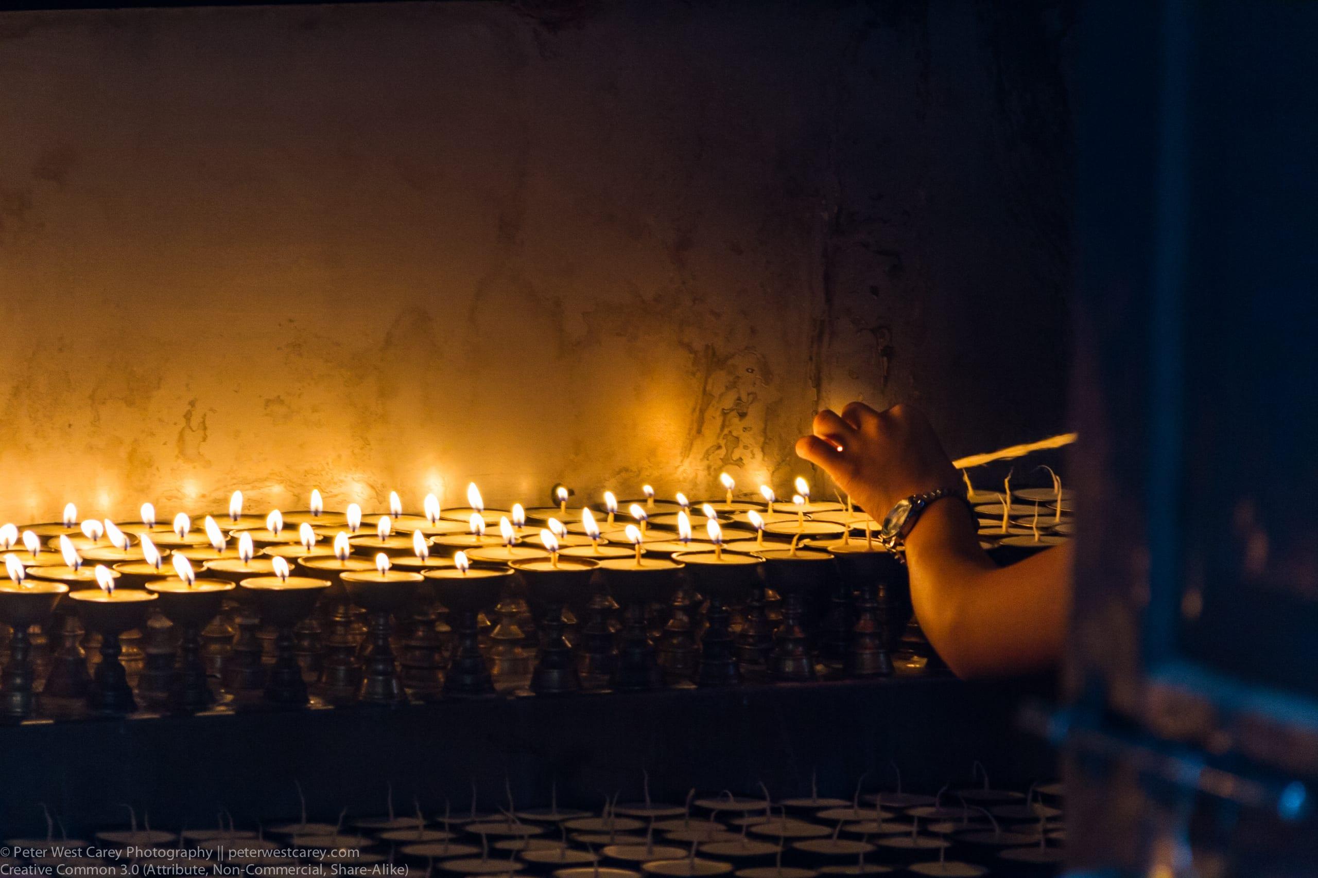 Candle Lighting, Kathmandu, Nepal, Asia