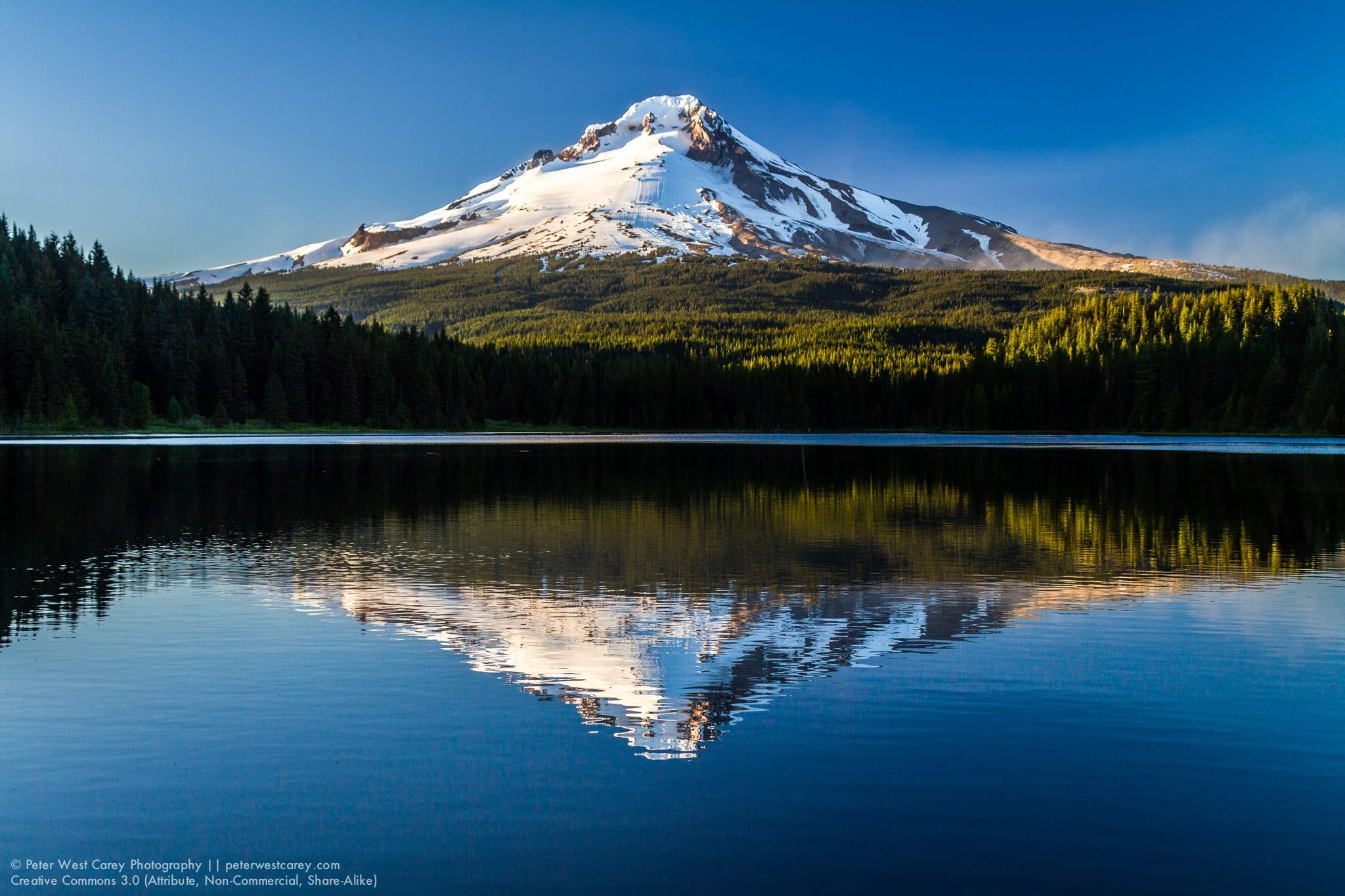 Mount Hood Reflected In Trillium Lake, Clackamas County, Oregon,