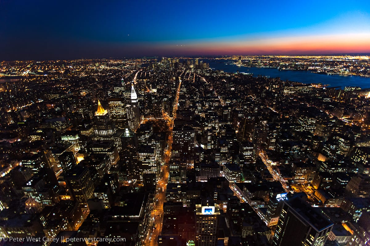 New York City at dusk from above (shot from Empire State Buildin