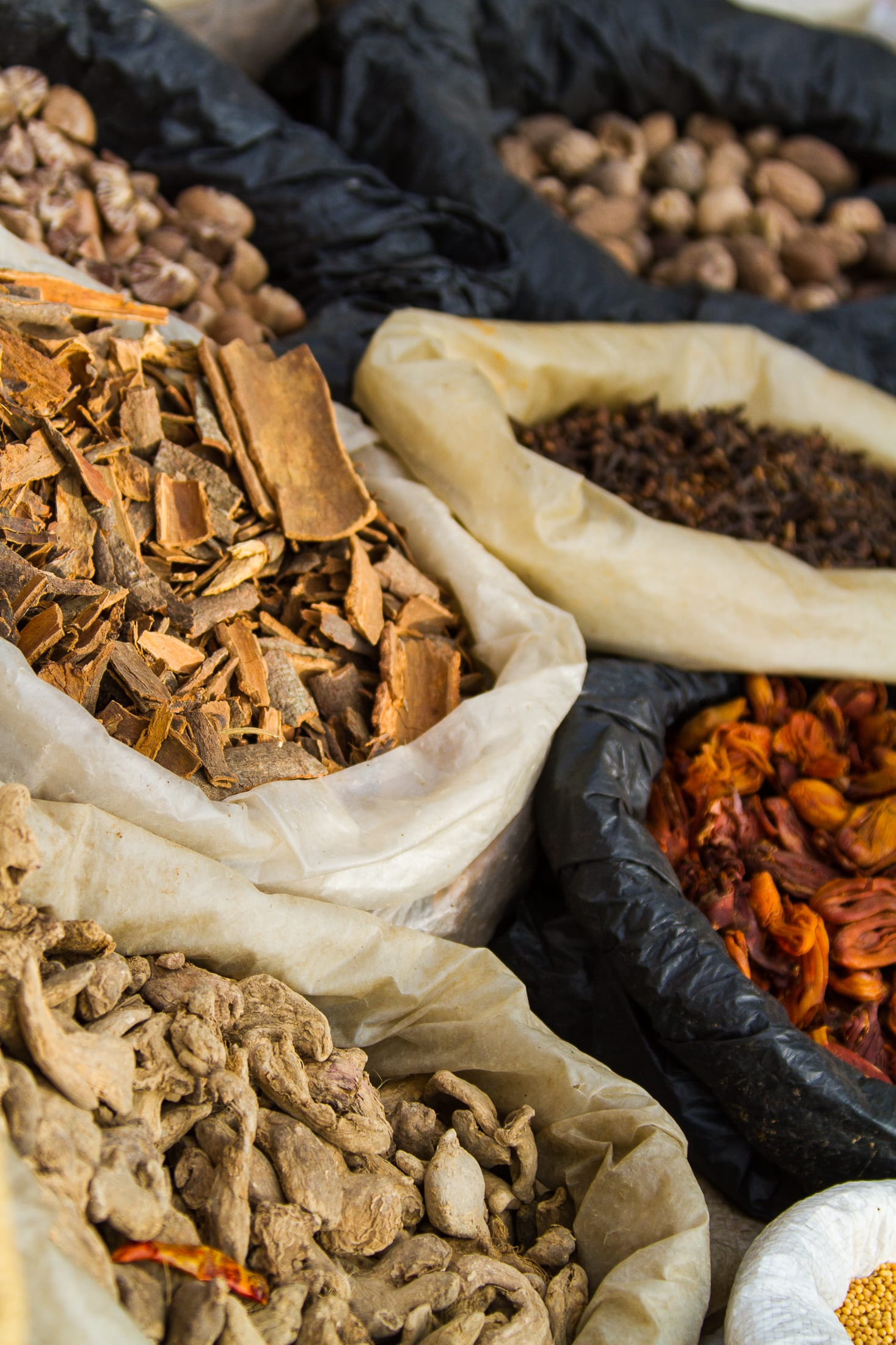 Spices kept for sale in grocery shop – Nepal