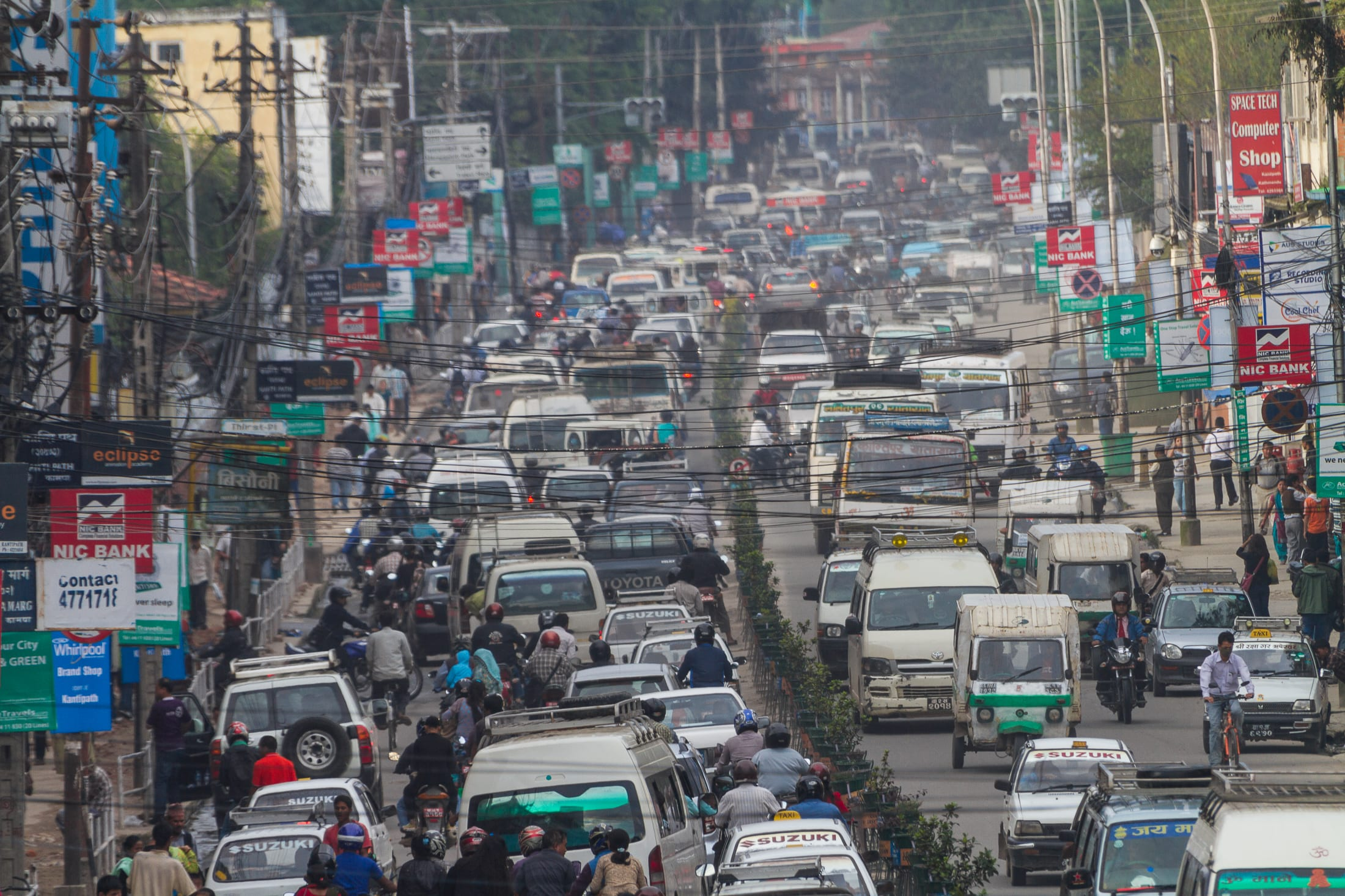 View of traffic in city – Nepal