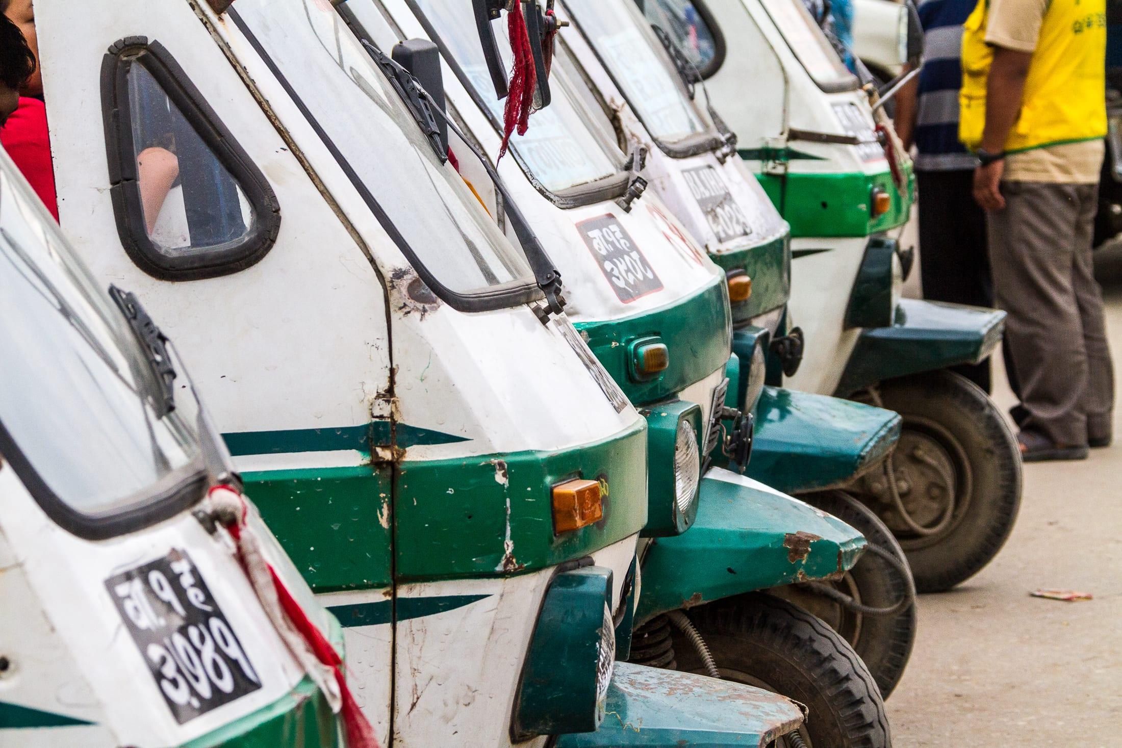 Line of parked auto rickshaw – Nepal